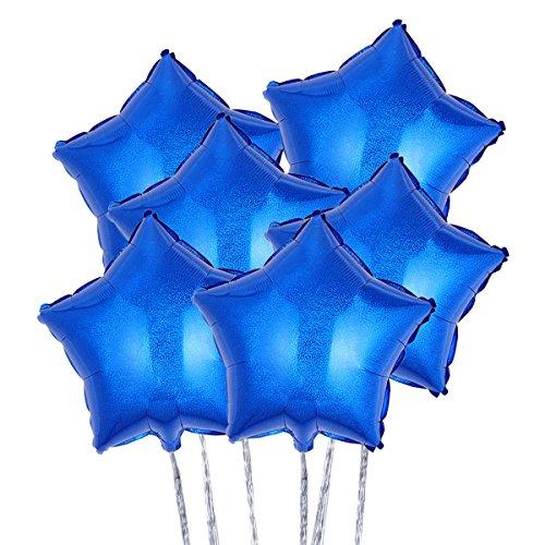 Blaue Mylar-band (TOYMYTOY Folieballons Stern 18 Zoll Dekoration Folie Helium Ballons für Party Valentinstag Hochzeit 6Pcs (blau))