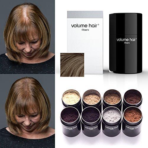 VOLUME HAIR Fibers - mittelbraun   Schütthaar, Streuhaar zur Haarverdichtung. Sofortiges Kaschieren von Haarausfall, Haaransatz und lichtem Haar.