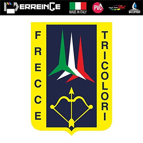 ERREINGE Sticker FRECCE TRICOLORE ITALIEN Aufkleber geformtes PVC für Abziehbild, Wand, Auto, Motorrad, Sturzhelm, Wohnmobil, Portable, Roller - cm 10