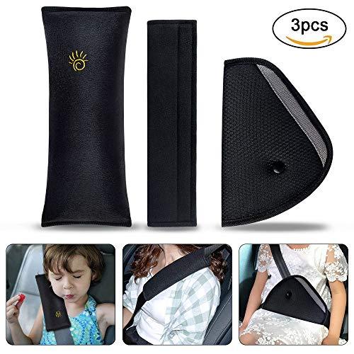 Gurtpolster Auto Kinder, URAQT 3 Stück Auto Sicherheitsgurt Schulterpolster Gürtelkissen Schutzkissen und Samtbeutel Groß für mehr Komfort auf der Reise