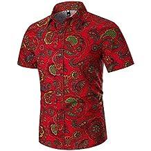 6075a74d2f Camisas Hombre Flores 2019 Moda SHOBDW Playa de Verano Impresión Hawaiana  Vintage Retro Blusa Slim Fit
