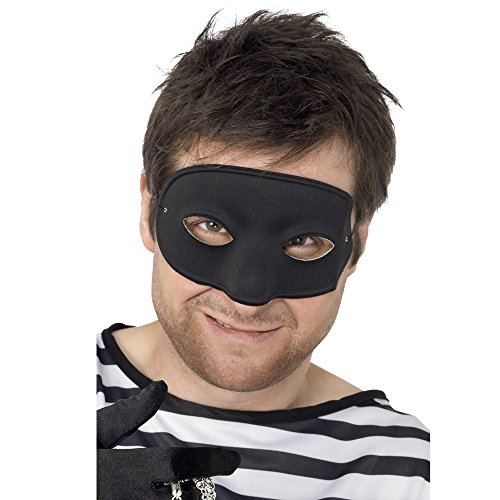 Smiffys, Unisex Einbrecher Augenmaske mit bedeckter Nase, One Size, Schwarz, (Kostüme Einbrecher Halloween)