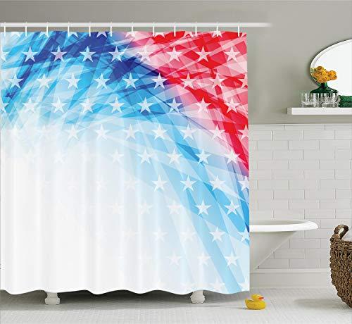 ecor Kollektion, Vereinigte Staaten National Flagge Sketch mit State Sterne weiß gestreift Polyester-Thema,-Badezimmer Dusche Vorhang Set mit Haken, blau rot ()