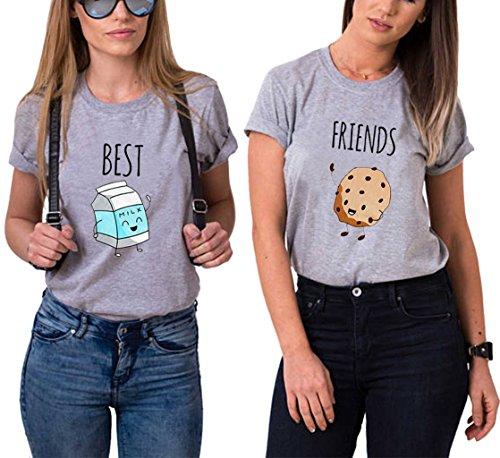 Ziwater Best Friends Tshirt für 2 Mädchen mit Aufdruck Milch und Gebäck Lustige Passende Kurzarm Damen von Grau