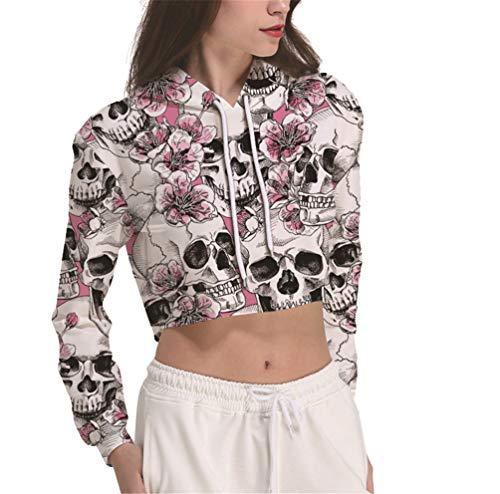 Ecohaso Damen Crop Top 3D Print Grafik Lässige Hoodie Sweatshirt (Skull Pink, L/XL) -