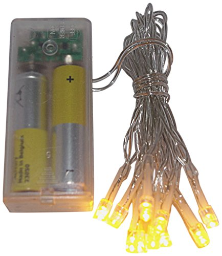 2 x 10er Timer LED - Lichterkette Batterie bernstein gold farben transparentes Kabel Batteriebetrieb