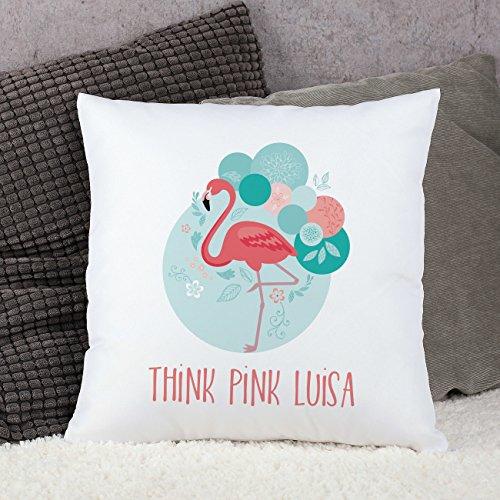 Herz & Heim® Deko Kissen – Flamingo – mit Wunschtext Aufdruck
