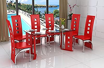 Modern Glass, Chrome & Red Faux Leather 6 Seat Dining Table and Chair Set