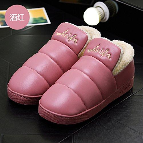 DogHaccd pantofole,Inverno pantofole di cotone morbido pacchetto spessa con un soggiorno interni in pelle impermeabile e antiscivolo per uomini e donne paio di scarpe di cotone Il vino è di colore rosso1