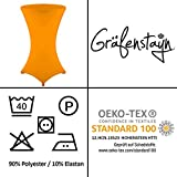 Gräfenstayn® Stretch Stehtischhusse Diana mit Öko-Tex Siegel, Verstärkung im Fußbereich, 40°C Maschinenwäsche in vielen Farben und Größen Ø60-65cm / Ø70-75cm / Ø80-85cm (Orange, Ø60-65cm) - 7