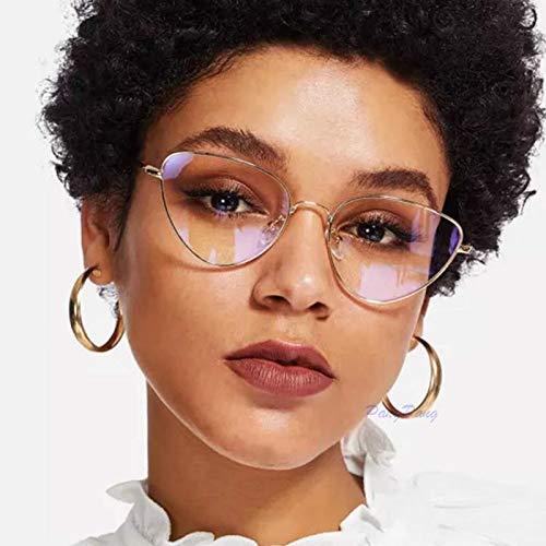 TECH-LINE-DIRECT Gold Trendy Clear Lens Cat Eye Brille Damen 2019 Vintage Metall Brillenrahmen Fake Brille Transparent Optischer Brillenrahmen