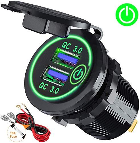 Gemcoo qc3.0 presa usb per auto doppio usb con interruttore touch 12v / 24v 36w 2 porte caricabatteria presa usb impermeabile led indicazione (verde)