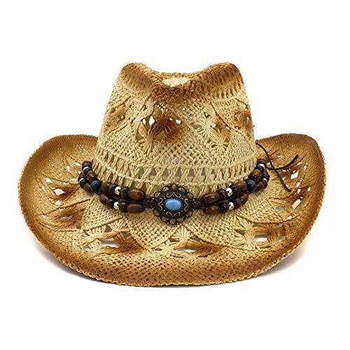 Azly-Caps Sombreros Vaquero Huecos Paja Natural, Banda