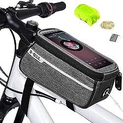 """Weeygo Bolsa de Bicicleta, Bolsa de Marco de Bicicleta Bolso Impermeable del Soporte del teléfono del Tubo del Tubo Superior de la Bici para Smartphone hasta 6"""", Gris"""
