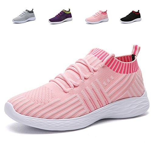 adituob Damen Strick Atmungsaktiver Trainer Sneaker Lässige Sportschuhe Leichte Wanderschuhe