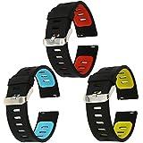 22mm correa silicona , EL-move 22MM Silicona Banda Correas Brazalete de Pulsera para Pebble Time / Gear S3 Classic / Gear2(BKYL+BKRD+BKBL 3pcs)