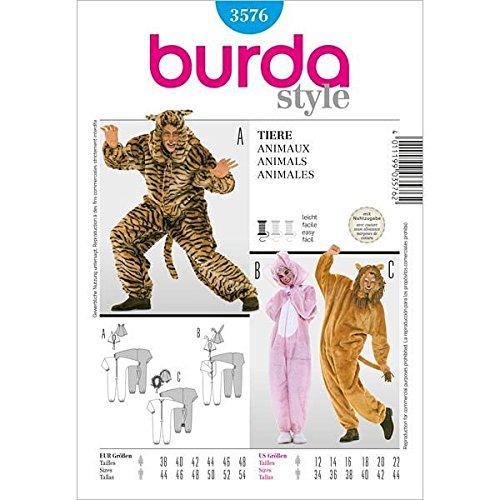 Burda 3576 Schnittmuster Kostüm Fasching Karneval Tier-Overall (Damen, Gr. 38-48/44-54) – Level 2 leicht