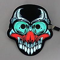 Yukun Máscara Control de Voz de Halloween Máscara Luminosa Fluorescente Led Mueca Máscara de Adultos Vestido de Noche Mascarada Máscara de Voz, O