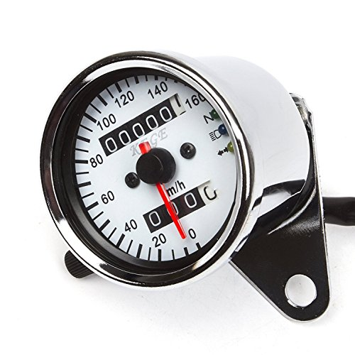 Universal Dual Odometer Speedometer Gauge Meter Double Mileage Meter Night Light for Motorcycles ATV Scooter Easy Install(White)