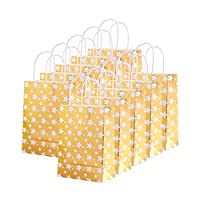 XNX 24 Pack Christmas Paper Gift Bags Party Favor Bags Recyclable Goodie Bags for Birthdays, Weddings, Baby Showers,Shopping. White(15 * 21 * 8cm) (gold star)
