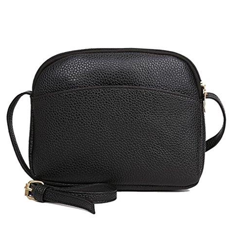 Beikoard vendita calda borsa a spalla con tracolla in pelle modello litchi modello vintage pure women (nero, moda)