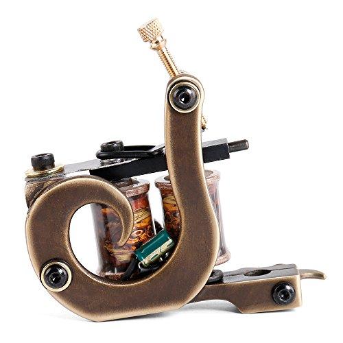 Solong Tattoo® Tattoo Maschine Custom Messing Gun Handmade 8 Wraps Pure Kupfer Coils für Liner M207-1 (Handmade Maschine Tattoo)