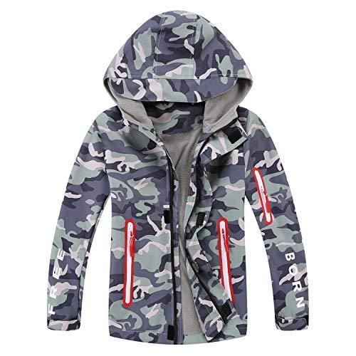Echinodon Jungen Gefütterte Jacke Camouflage Outdoorjacke Übergangsjacke Wanderjacke wasserabweisend Winddicht Kinder Regenjacke Funktionsjacke A150