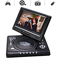 7'' Portable DVD Player,with Swivel Screen, Built-In Rechargeable Battery SD Card And USB AV IN/OUT, Supported Direct Play in Formats AVI/RMVB/MP3/JPEG