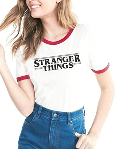 Donna manica corta girocollo t-shirt lovers casual magliette con tema stampa a proposito di stranger things red xl