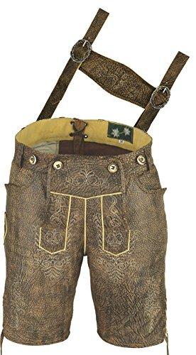 Lederhose mit Träger, echt Leder Trachten Lederhose Herren kurz, Damen Trachtenlederhose in Antik Nappa Braun (48, Antik Braun)