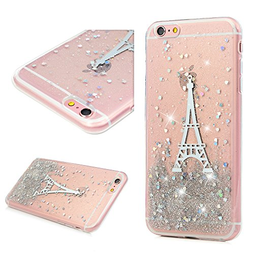 Cover per iPhone 6 Plus Silicone e Bling Glitter Brillanti, iPhone 6S Plus Custodia Morbida TPU Flessibile Gomma - MAXFE.CO Case Ultra Sottile Cassa Protettiva per iPhone 6 Plus / 6S Plus - Acchiappas Torre
