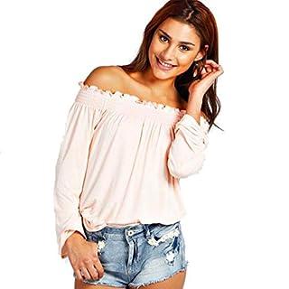 Minetome Damen Sexy Schulterfrei Boot-Ausschnitt Langarmshirt Bluse Clubwear Party T-Shirt ( Rosa EU S )