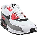 Nike Damen WMNS AIR MAX 90 Traillaufschuhe, Weiß (Bianco/Nero/Dust/Solar Rosso 132), 41 EU