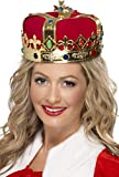Smiffy's Queens Crown Gold PVC Jewels - Red Fabric