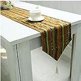 NKLHJ Tischläufer Tischläufer Stil Gestreift Leinen Elegante Hessische Jute Baumwolle Hochzeit Tischläufer Couchtisch Matte Hause (30 * 180 cm)