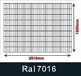 BBT@/1 x Doppelstabmatte Gittermatte Zaunfeld 6/5/6 Anthrazit Höhe 163cm Breite 250cm ohne Pfosten
