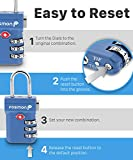 Fosmon TSA Approved Luggage Locks, (4 Pack) Open Alert Indicator 3 Digit Combination Padlock Codes with Alloy Body and Release Button for Travel Bag, Suit Case & Luggage - Black, Blue, Pink, Silver