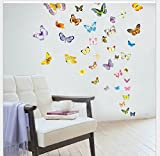 50pcs Colorful Butterfly Wall Sticker PVC Removable Art Decor Decal for Baby Bedroom Wall Decoration