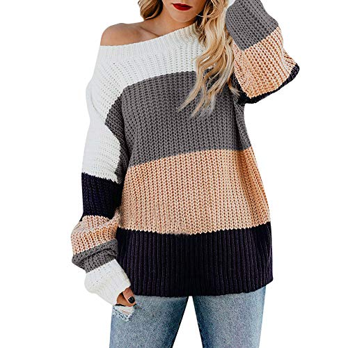 Luckycat Mujer Suéter Mangas largas Jersey O-Cuello Pullover de Punto para  Mujer 4670513e716a