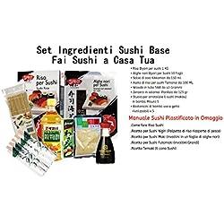 Set ingredienti e strumenti per sushi, manuale sushi, alghe nori, aceto di riso, salsa di soia, wasabi, zenzero per sushi, riso per sushi, stuoia bambu per sushi, bacchette sushi