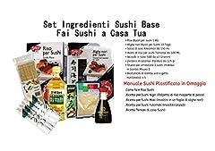 Idea Regalo - Set ingredienti e strumenti per sushi, manuale sushi, alghe nori, aceto di riso, salsa di soia, wasabi, zenzero per sushi, riso per sushi, stuoia bambu per sushi, bacchette sushi