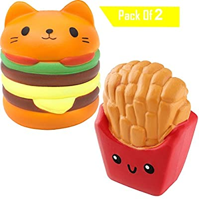 Desire Deluxe Jumbo Squishies Pack Prime Slow Rising for Boys Scented Squishys for girls Squishy Toy (Burger - Chips - PopCorn)