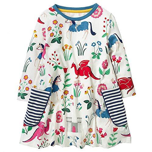 AILEESE Kleinkind Kinder Baby Mädchen Halloween schöne Jumper Rock Einhorn Striped Blume Party Kleid Casual Dance Kleider 2T-7T (Alten Mädchen 5-yr Halloween-kostüme)