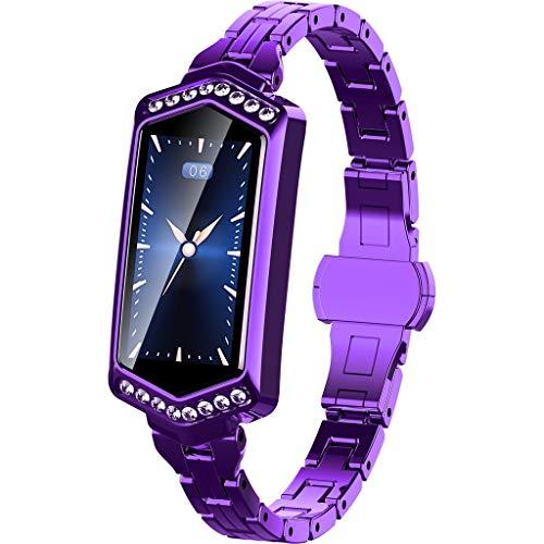 LQIAN Smartwatch, J1 Damen Fitness Tracker Uhr Armband Sportuhr, IP67 Bluetooth Blutdruck & Herzfrequenz Sport Smart Watch Armband Benachrichtigung Kompatibel mit IOS und Android (Lila)