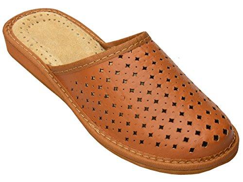 Bawal Chaussons pantoufles pour les femmes confort naturel cuir chaussons pantoufles marron taille 36-41 Marron