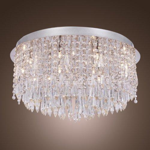 LightInTheBox Moderne Chrom-Finish 240W Kristall Unterputz Leuchter-Deckenleuchte mit 12 Lichtern Runde für Wohnzimmer Schlafzimmer Esszimmer