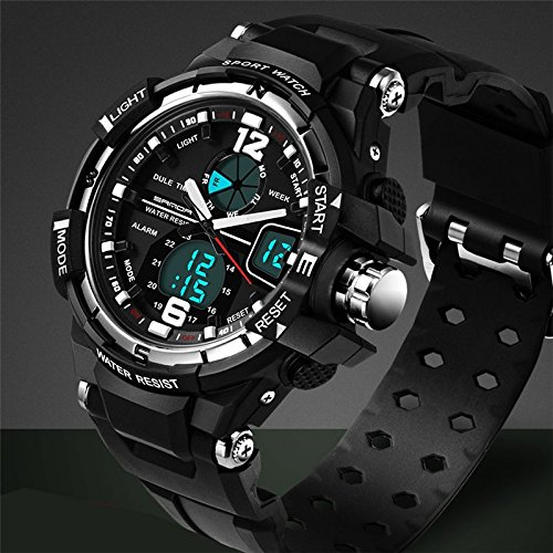 Sport Armbanduhr Herren 2016 Uhr Stecker LED Digital Quarz Handgelenk Uhren Herren Top Marke Luxus digital-watch relogio Masculino, silber
