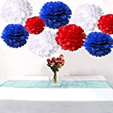 18PCS Mixed Royal Blue Red White Party Tissue Pom Poms Wedding Flowers Birthday Holiday Paper Hanging Decoration