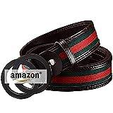 Mens Real Leather Belt 100% Leather Belt Men, Suits For Casual & Formal & Business & Working Clothes Belt Black Reversible Removable Adjustable Buckle Belt