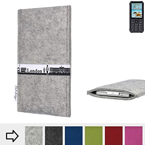 flat.design für Energizer H20 Schutz Hülle Handy Case Skyline mit Webband London - Maßanfertigung der Schutztasche Handy-Tasche aus 100% Wollfilz (hellgrau) für Energizer H20